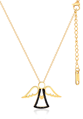 www.snowfall-beads.be - Roestvrijstalen halsketting engel met strass 44-49cm