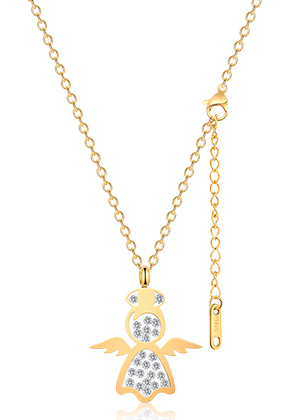 www.snowfall-beads.nl - Roestvrijstalen halsketting engel met strass 44-49cm