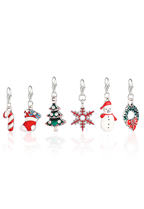 www.snowfall-beads.be - Mix EasyCharm hangers kerst met slotje 38x14mm