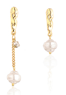 www.snowfall-fashion.com - Earrings with synthetic pearl 31-55x10mm - J09284