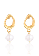 www.snowfall-fashion.com - Earrings with synthetic pearl 33x14mm - J09285