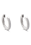 www.snowfall-fashion.com - Brass hoop earrings with zirconia 14x13mm - J09310
