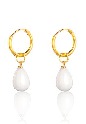 www.snowfall-beads.com - Brass hoop earrings with mother of pearl drop 31x15mm