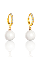 www.snowfall-fashion.com - Brass hoop earrings with zirconia and mother of pearl 28x13mm - J09329