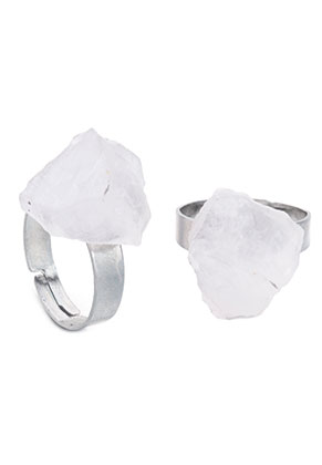 www.snowfall-fashion.co.uk - Ring with natural stone Rock Crystal >= Ø 18mm
