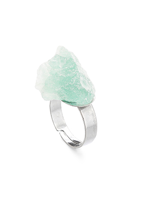 www.snowfall-fashion.com - Ring with natural stone Fluorite >= Ø 18mm