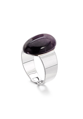 www.snowfall-fashion.co.uk - Ring with natural stone Amethyst >= Ø 17,5mm
