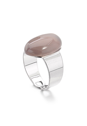 www.snowfall-fashion.co.uk - Ring with natural stone Grey Agate >= Ø 17,5mm