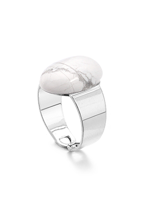 www.snowfall-fashion.co.uk - Ring with natural stone Howlite >= Ø 17,5mm