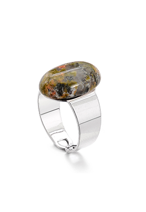 www.snowfall-fashion.com - Ring with natural stone Unakite >= Ø 17,5mm