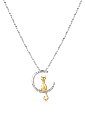 www.snowfall-fashion.co.uk - Necklace with cat and moon 45cm