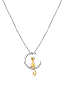 www.snowfall-fashion.com - Necklace with cat and moon 45cm - J09399