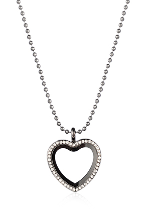 www.snowfall-fashion.co.uk - Necklace with Floating Charm Locket heart with strass 80x3,5cm