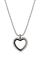 www.snowfall-fashion.com - Necklace with Floating Charm Locket heart with strass 80x3,5cm - J09415