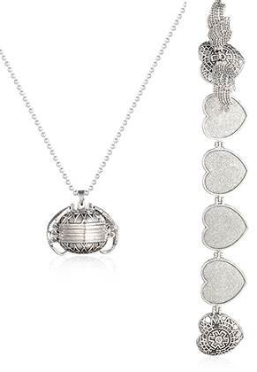 www.snowfall-fashion.co.uk - Necklace with photo ball locket heart 60x3,2cm