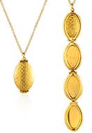 www.snowfall-beads.de - Halskette mit Medaillon oval 47-54x2cm - J09432