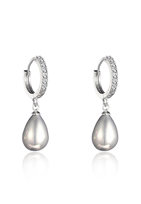 www.snowfall-beads.com - Brass hoop earrings with strass and mother of pearl drop 28x13mm