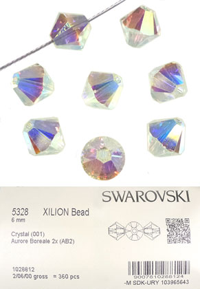www.snowfall-beads.com - SWAROVSKI ELEMENTS bead 5328 XILION Bead bicone 6mm