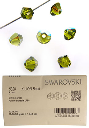 www.snowfall-beads.com - SWAROVSKI ELEMENTS bead 5328 XILION Bead bicone 4mm