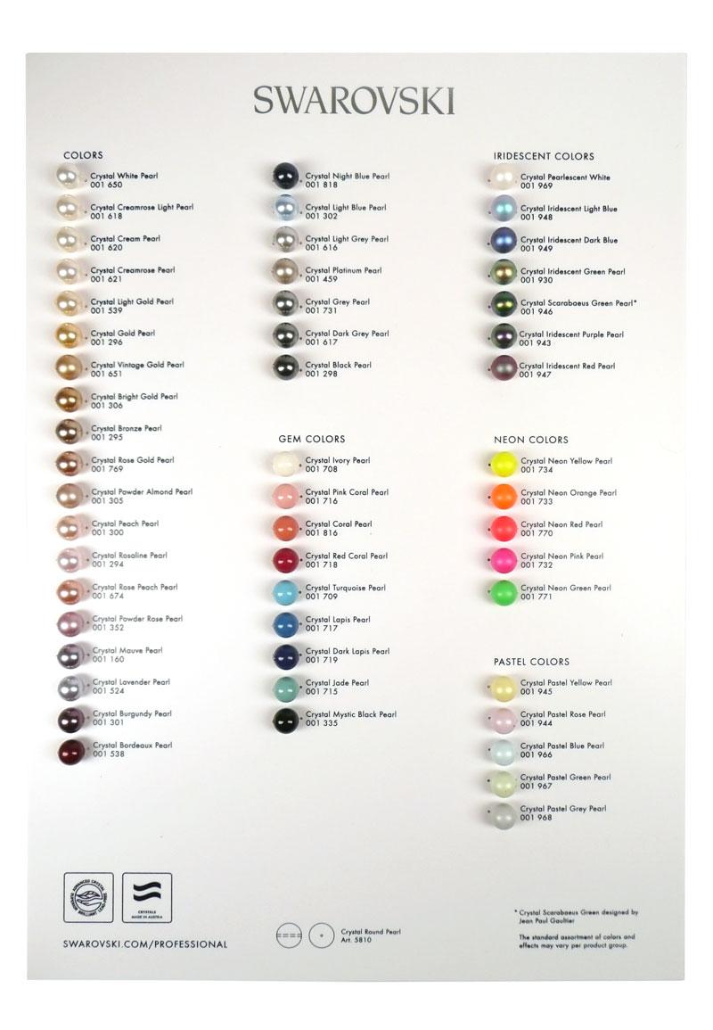 Swarovski elements crystal pearls color chart 2017 297x21cm nvjuhfo Images