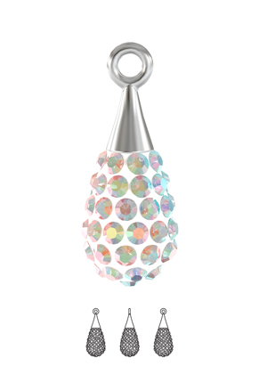 www.snowfall-beads.com - SWAROVSKI ELEMENTS pendant/charm 67563 Pavé Pendant Drop 14mm