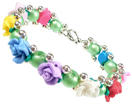 www.snowfall-beads.com - Jewelry project: Flowery Bracelet