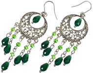 www.snowfall-beads.be - Sieradenproject: Green Chandeliers