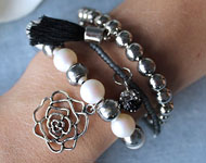 www.snowfall-beads.be - Sieradenproject: Romantic Bracelet Set