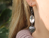 www.snowfall-beads.fr - Projet Bijoux: Black & Crystal Earrings